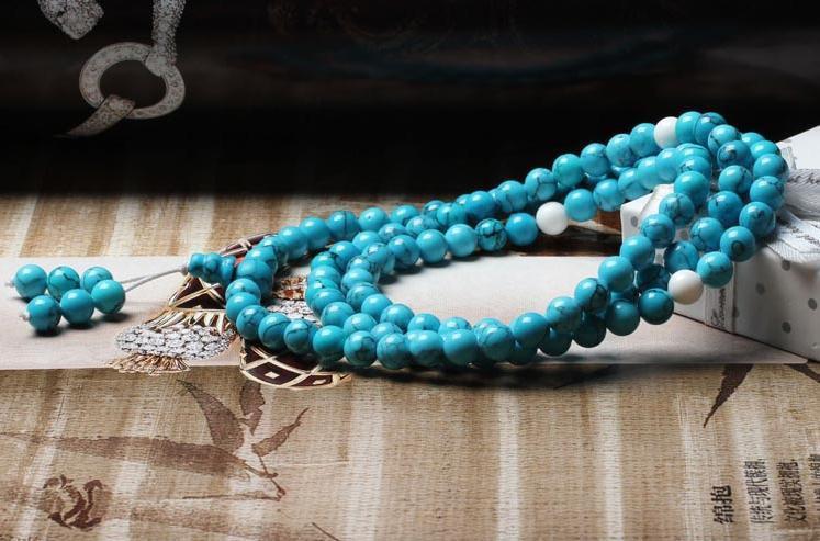 Free Shipping -  Tibetan natural Turquoise meditation yoga 108 Prayer Beads Mala
