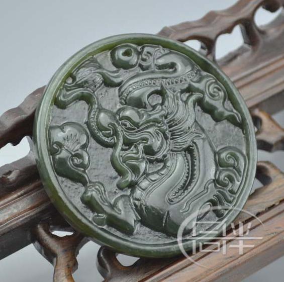 Free Shipping - perfect Genuine AAA Chinese Natural dark Green jadeite jade carv