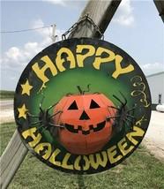 Metal Happy Halloween Sign, Halloween Decor Wall Hanging, Pumpkin Spider... - $130.00