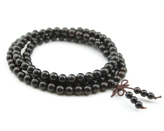 Free Shipping - Tibetan Buddhism 8 mm 100% natural black sandalwood  meditation