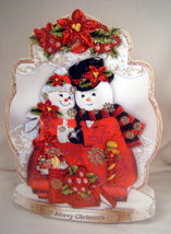 Handmade Greeting Card - Large Holiday Snow Folks, Free Standing Christm... - $8.95