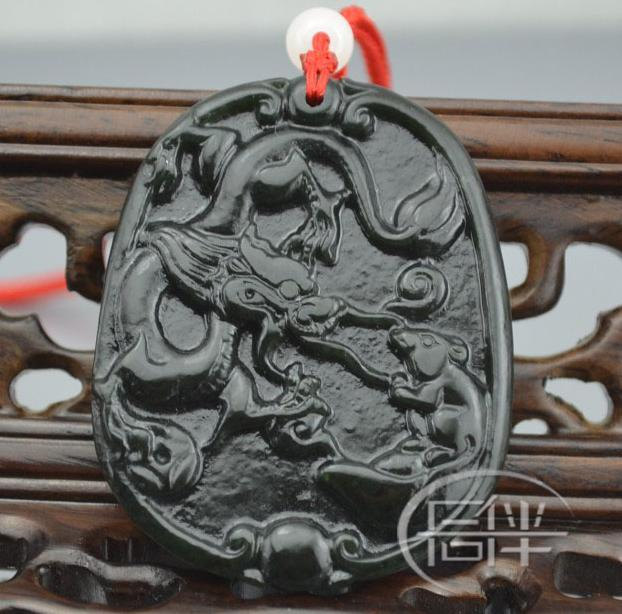 Free Shipping - good luck Natural black jade Carved Dragon and rat Pendant charm