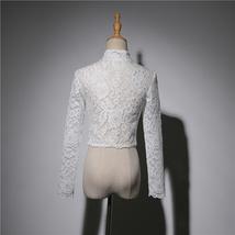 Button Down Short Sleeve Lace Shirt Wedding Bridal Plus Size Crop Lace Shirts image 7