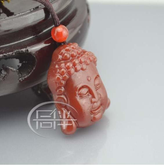 Free shipping -  hand-carved Natural red Jade Laughing Buddha  charm Pendant