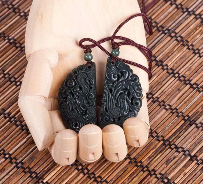 Free Shipping - good luck Gift pendant  , Natural black Jadeite Jade carved  dra