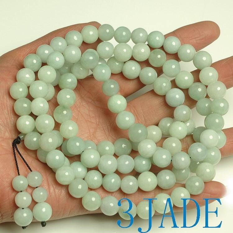 Green Jadeite Jade Mala 100% AAA Grade Natural Green jade