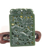 Free Shipping - Genuine AAA Natural  Green Jade carved Dragon charm Pend - $48.99