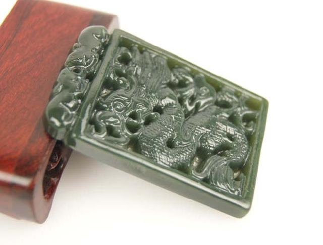 Free Shipping - Genuine AAA Natural  Green Jade carved Dragon charm Pend