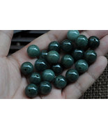 Free Shipping -  14mm Jadeite Jade bead  Grade AAA  Natural dark Green Jad - $60.00