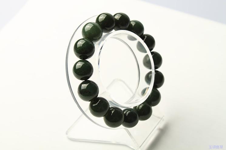 Free Shipping -   Grade AAA Natural dark Green jadeite jade charm Bracelet