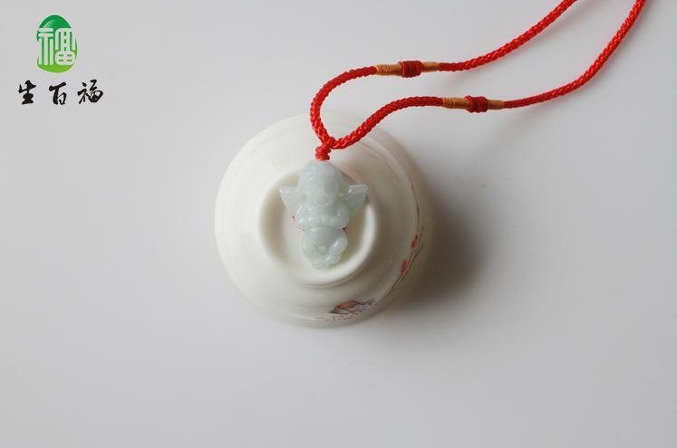 Free Shipping - Angel's love  / Hand-carved Natural white Angel  jade Pendant /