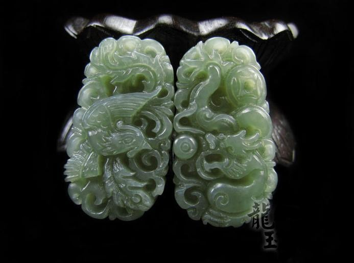 Free Shipping - Unconditional Love Hand-carved Natural Green Dragon Phoenix jade
