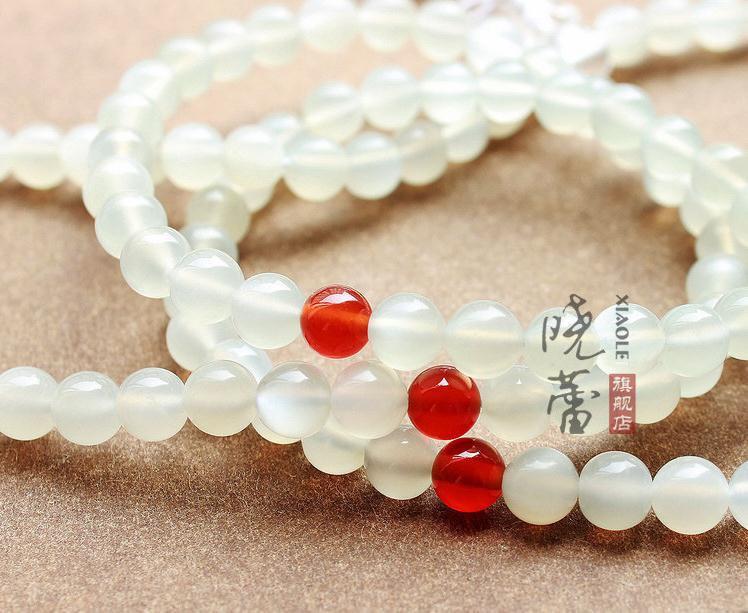 Free Shipping - 8mm  Natural MOONSTONE Prayer Beads Mala  meditation yoga 108 be
