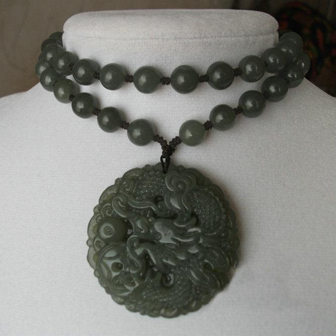 Free Shipping - Jadeite Jade Natural dark green Jadeite Jade carved Dragon