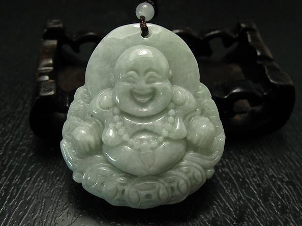 Free Shipping - good luck  Natural Light Green Laughing Buddha Jadeite Jade Amul