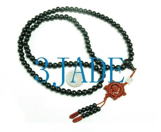 Free Shipping - Tibetan Buddhism Natural Black Sandalwood  meditation yoga 108 P