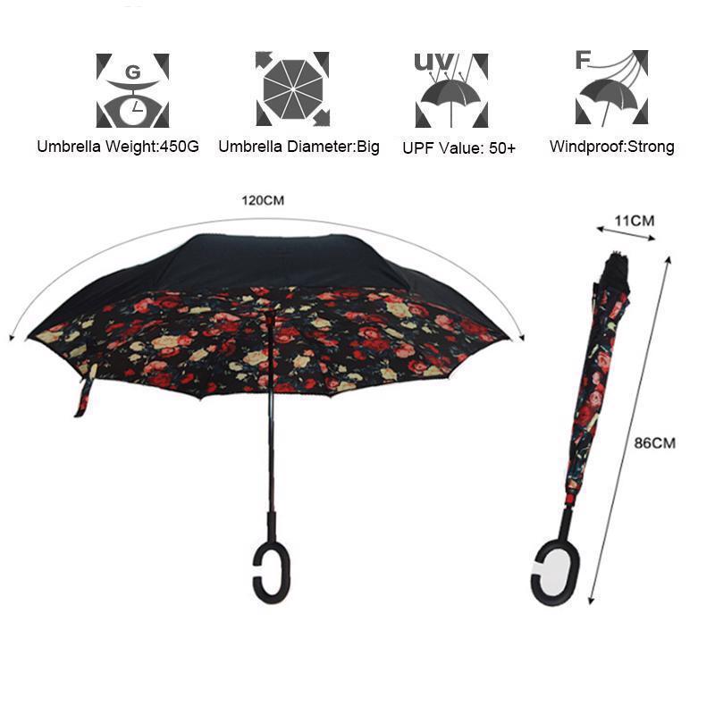Umbrella Double Layer Reverse Folding Inverted Handle Windproof Designed Parasol