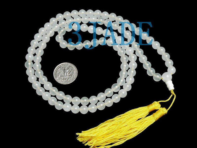 Free Shipping - good luck 100% NATURAL pure White agate Meditation yoga 108 Pray