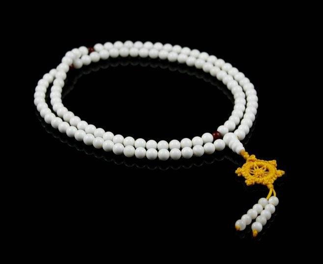 "Free Shipping - Tibet buddhist 37"" Natural white Tridacna 108 MEDITATION yoga Pr"