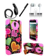 ZTE Prestige N9132 Pink Love Heart Hybrid Dual Layer Case Cover w/ Kicks... - $11.99