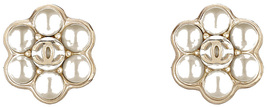 AUTHENTIC Chanel CC Pearl Earrings Gold Camellia Flower New