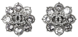 AUTHENTIC Chanel CC Crystal Earrings Silver Flower Sparkling New
