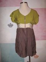 YA Lime Green Cream Gray Full Front Zip V Neck Short Lined SS Dress L - $13.54