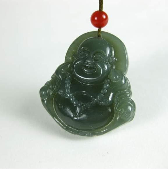 Free Shipping - perfect  AAA Natural dark Green Jadeite Jade carved Laughing Bud