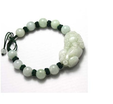 good luck Amulet Handcrafted natural green jade  '' PI YAO'' bracelet - $30.00