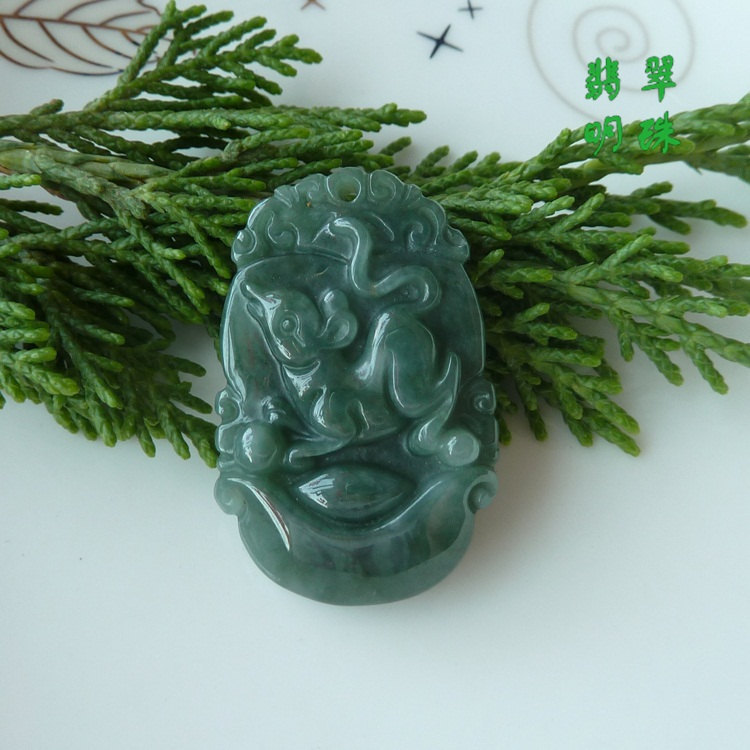 Free Shipping -good luck Amulet Natural dark green Jadeite Jade  Rat / Mouse cha