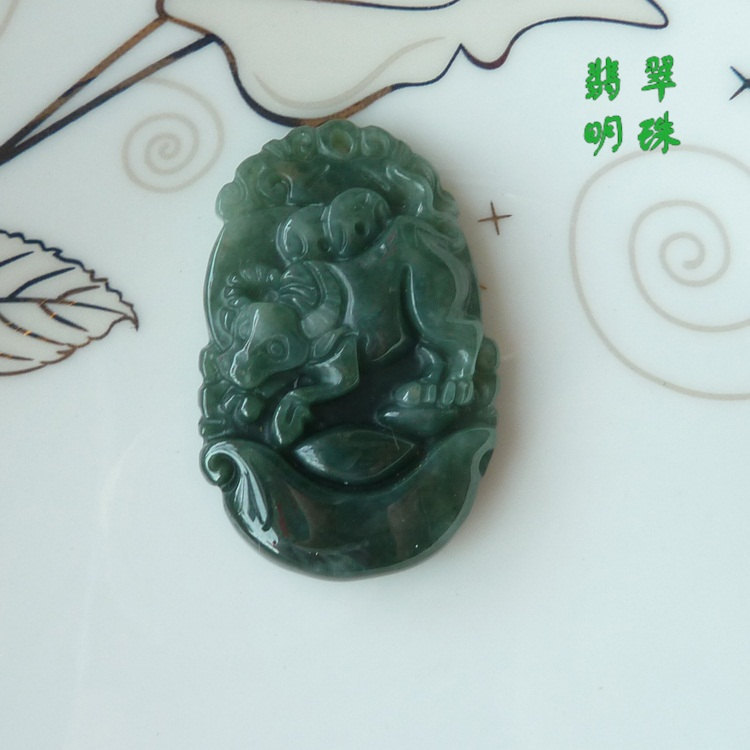 Free Shipping -good luck Amulet Natural dark green Jadeite Jade Ox charm Pendant