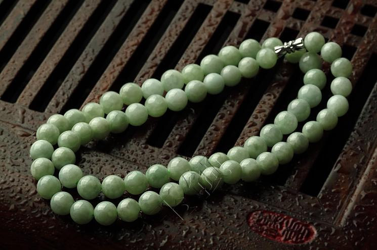 Hand carved Jadeite Jade , Delicate Natural Green Round Be