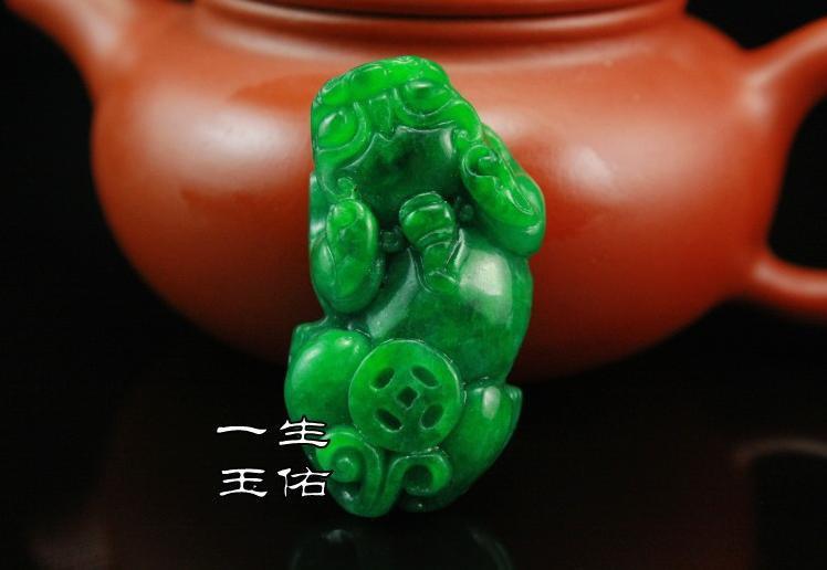 Rare Hand-carved one Pair Genuine  green jadeite '' Pi Ya