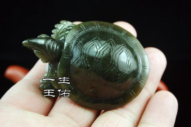 Rare Good luck Hand- carved AAA Natural dark green Tortoise jade