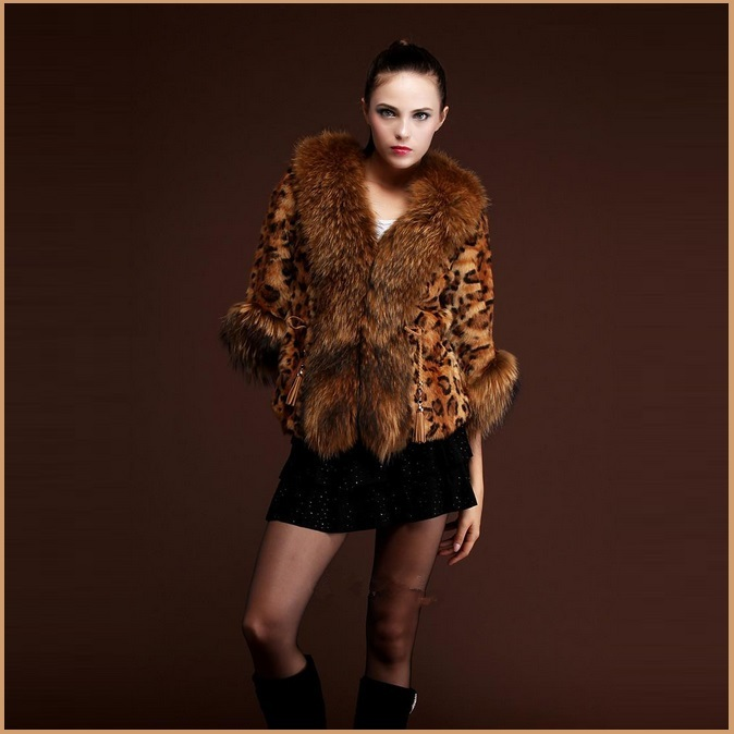 Long Hair Dog Racoon Faux Fur Trimmed Collar Sleeve Leopard Faux Fur Coat Jacket