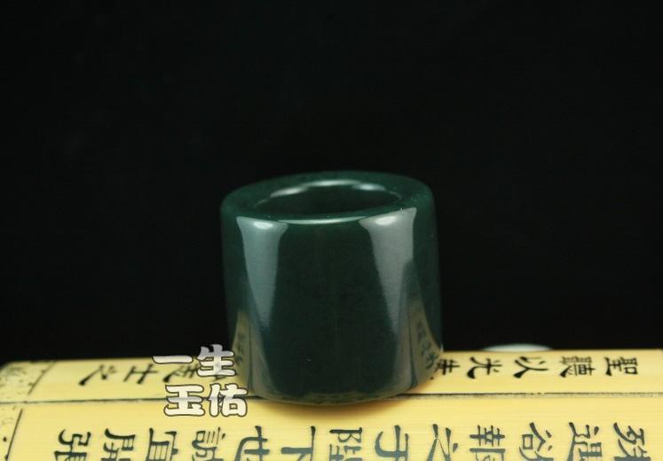 jadeite HAND-CARVED  Natural dark Green Round jadeite ring