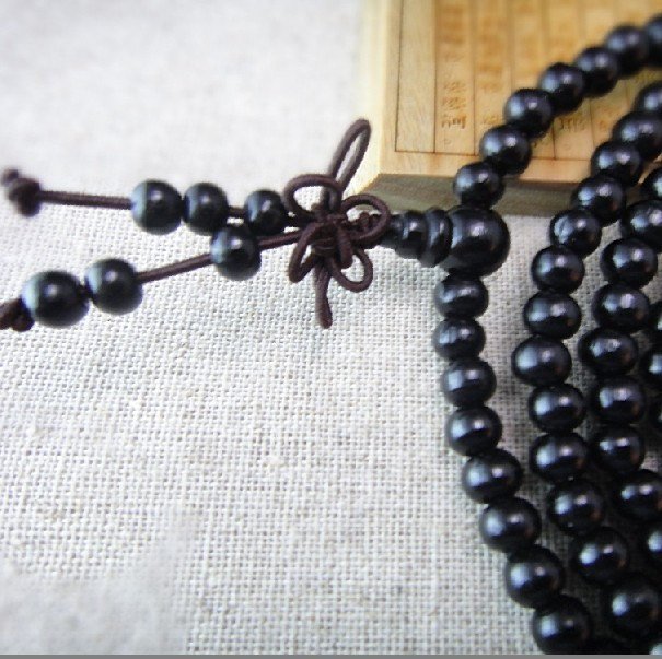 Free Shipping - 7 mm beads Tibetan  Natural black sandalwood  meditation yoga 21