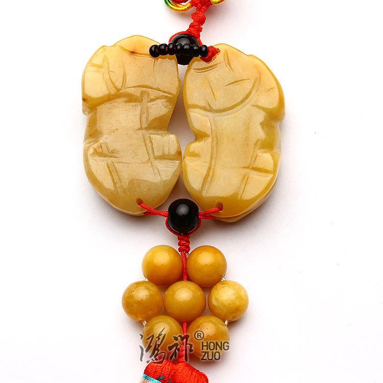 A pair good luck Natural yellow jade Carved Pi yao