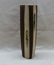 Vintage Rustic Brown and Cream Stoneware Wall Vase // Wall Pocket - $12.00