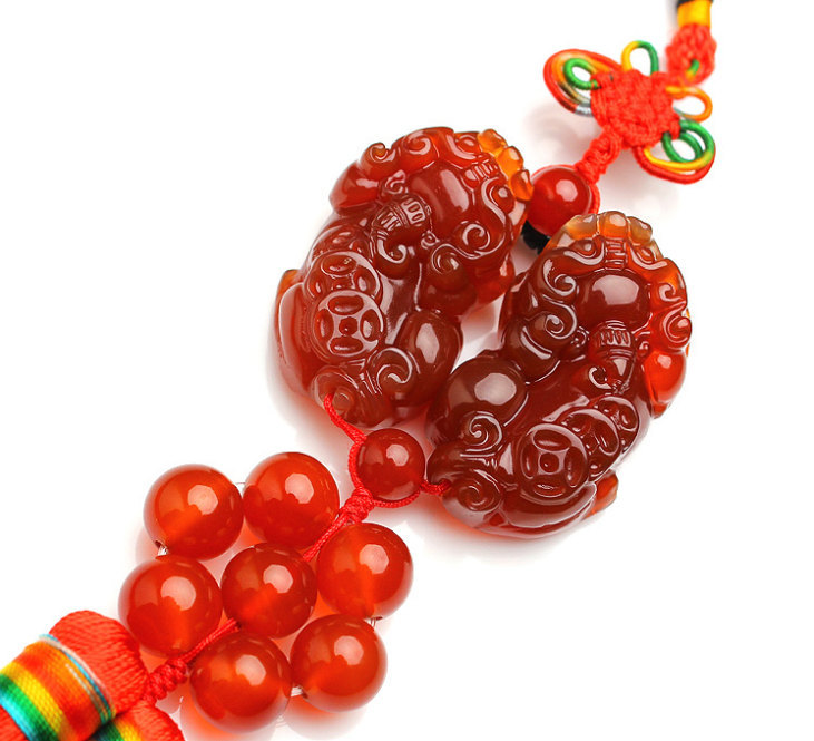 Free Shipping -  A pair good luck Natural Red jade Carved Pi Yao charm Pendant