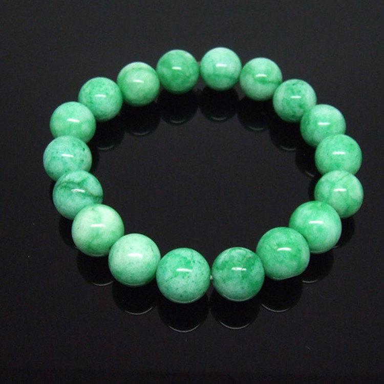 Free Shipping -  Natural green Apple jade meditation yoga Prayer Beads charm bra