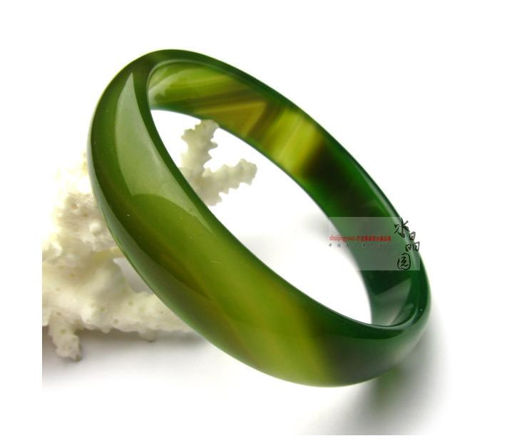 Free Shipping -  perfect 100%  Natural Green agate  charm Bangle