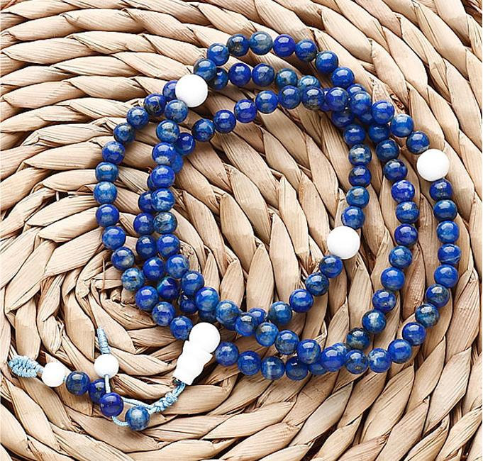Free Shipping - 8 mm  Natural Lapis lazuli  Meditation yoga 108 Prayer Beads mal