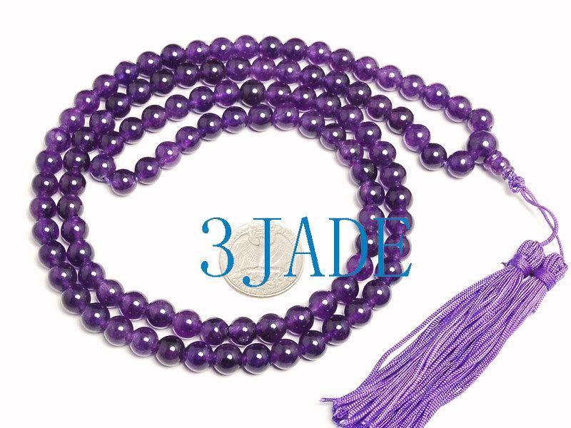 Free Shipping - NATURAL  Amethyst / Dark Purple / Purple Tassel 108 Meditation Y