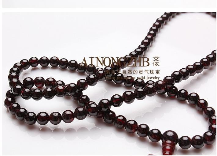 Free Shipping -  good luck natural dark Red Garnet meditation yoga 108 Beads Pra