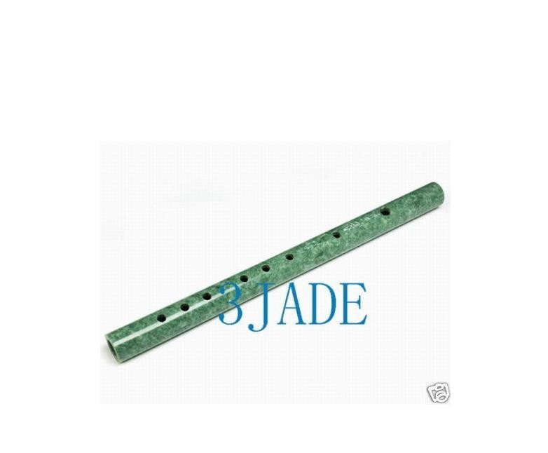Free shipping - Vintage Hand carved Natural Green Jade Chinese Flute / Dizi