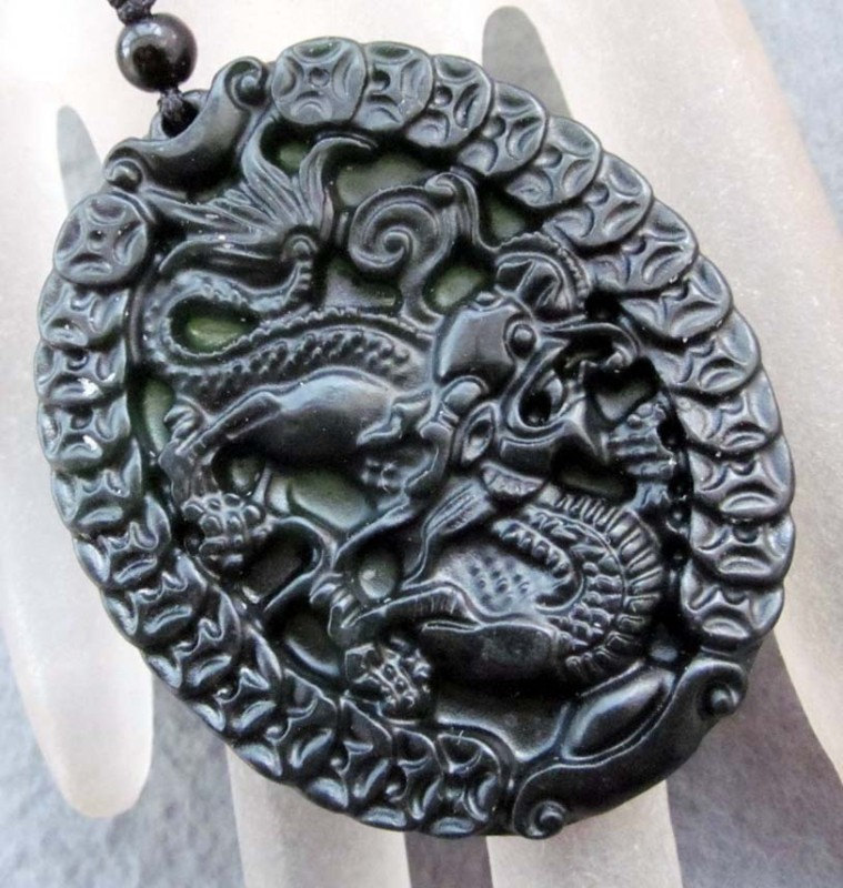 Free Shipping -  2012 Year Prosperous Money dragon , Natural black Jadeite Jade
