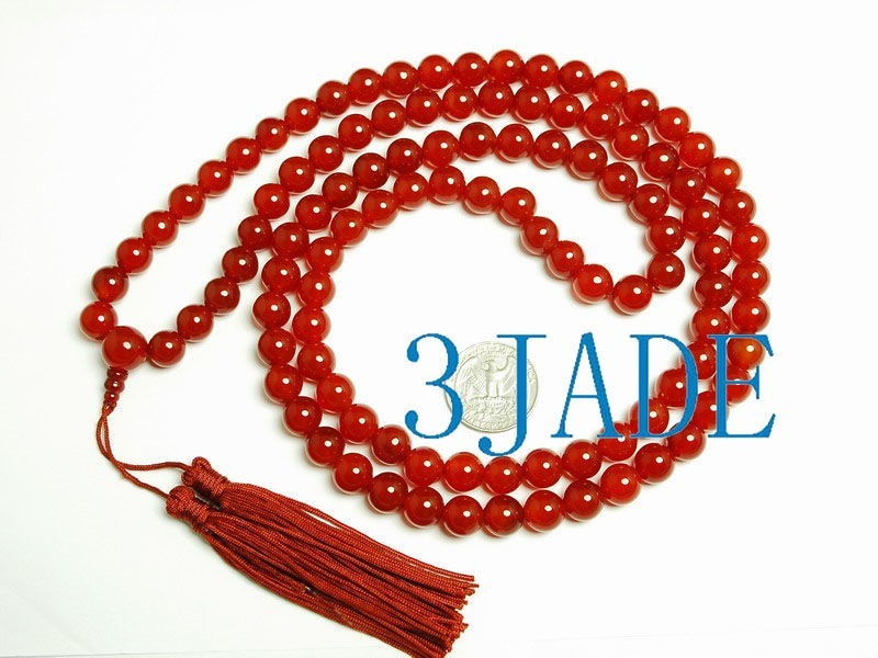 Free Shipping - 37 Inches 10 mm Tibetan Buddhist natural Red Agate / Carnelian m
