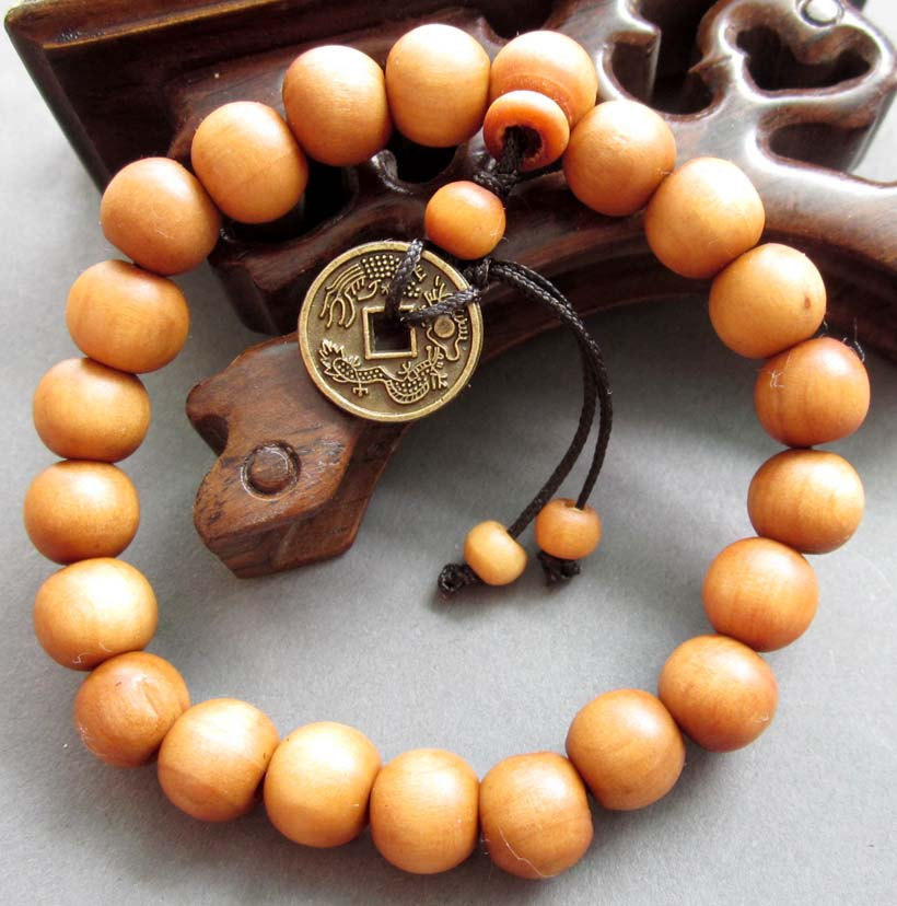 Free Shipping -  Hand Carved Natural Yellow sandalwood Meditation yoga prayer Be