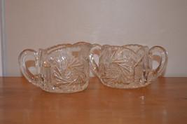 Vintage Elegant Lead Crystal Creamer & Open Sugar Bowl ~ Pinwheel Design  - $25.00